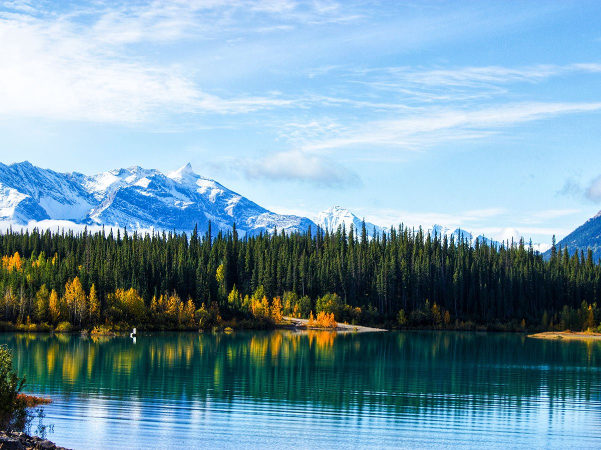 Colorful forest reflecting in the Emerald Lake as seen on a guided camping tour