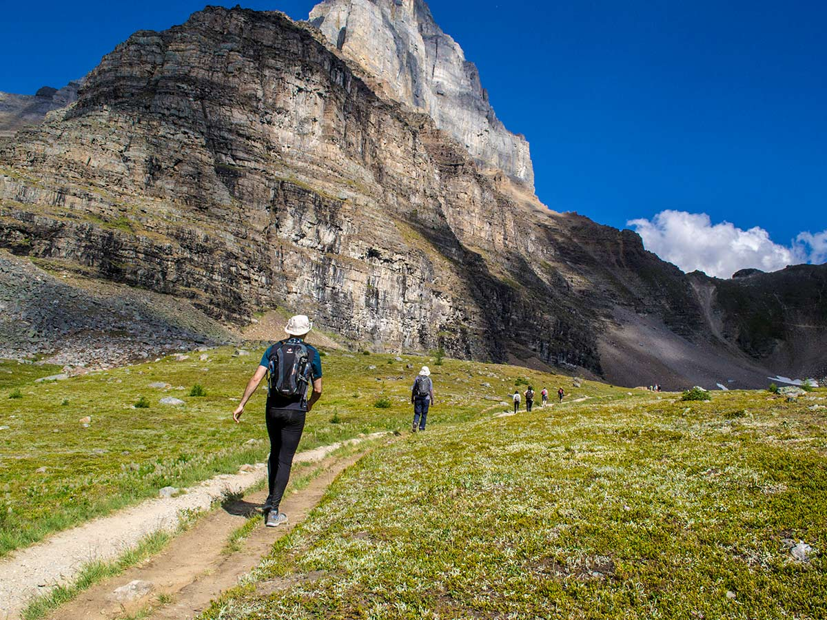 Group of hikers approaching the Sentinel Pass