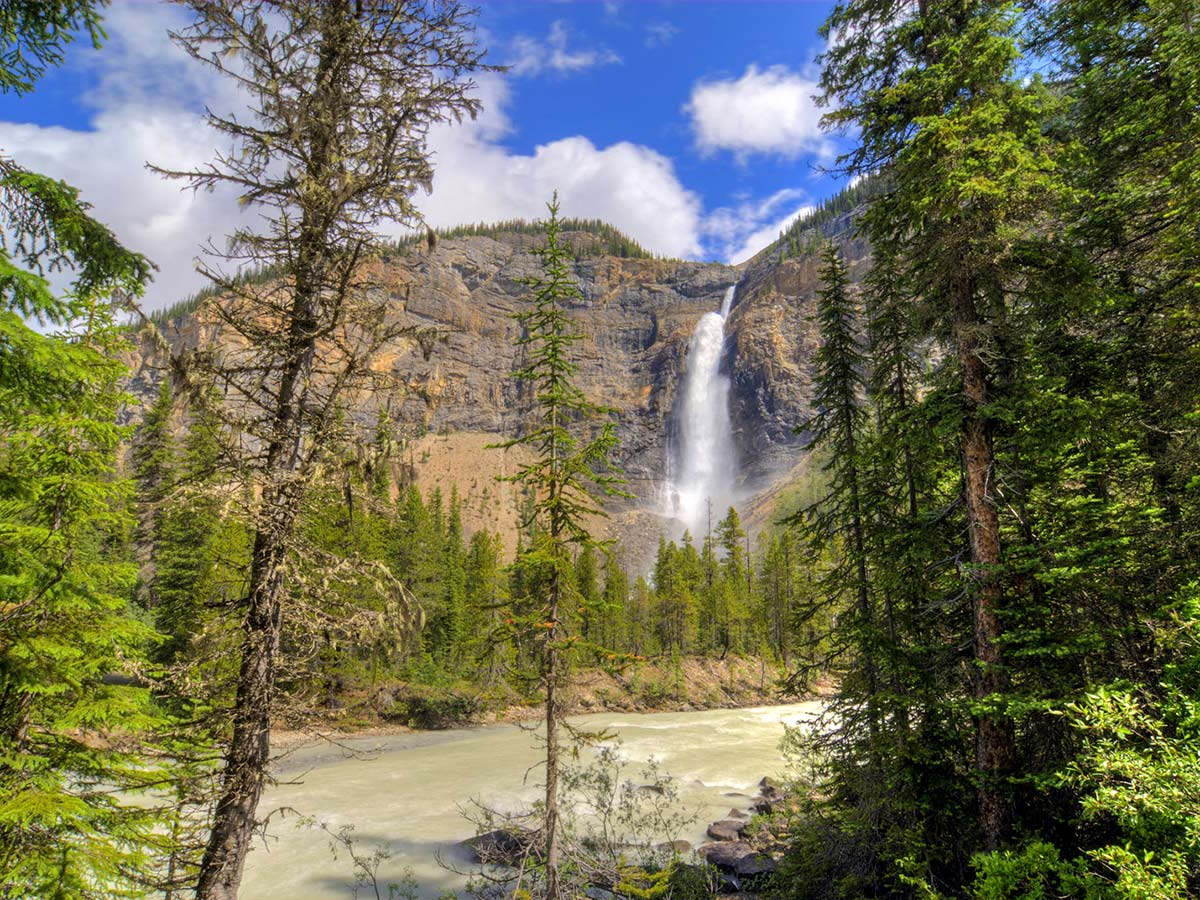 Takakkaw Falls as seen on a hiking and camping trip in Yoho National Park Rocky Mountains