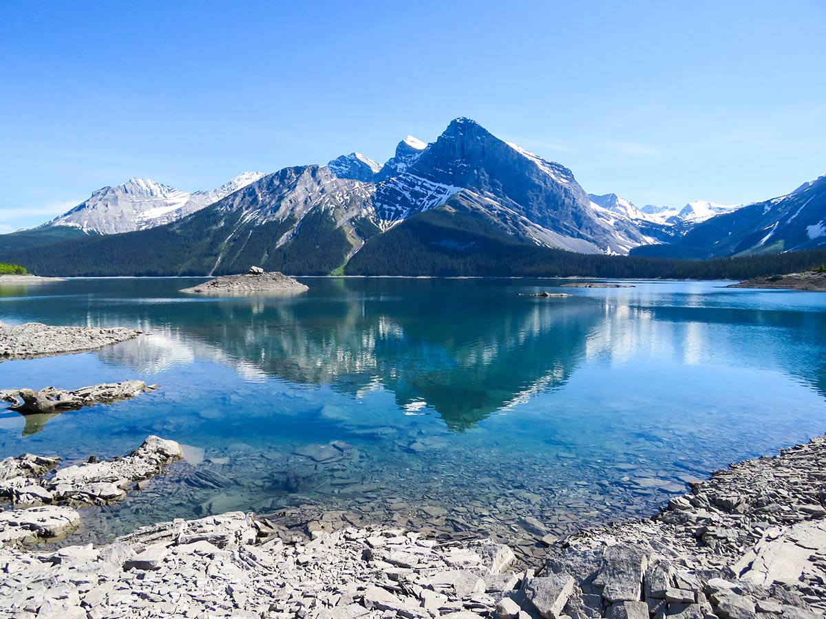 Beautiful Upper Kananaskis Lake visited with a guided tour