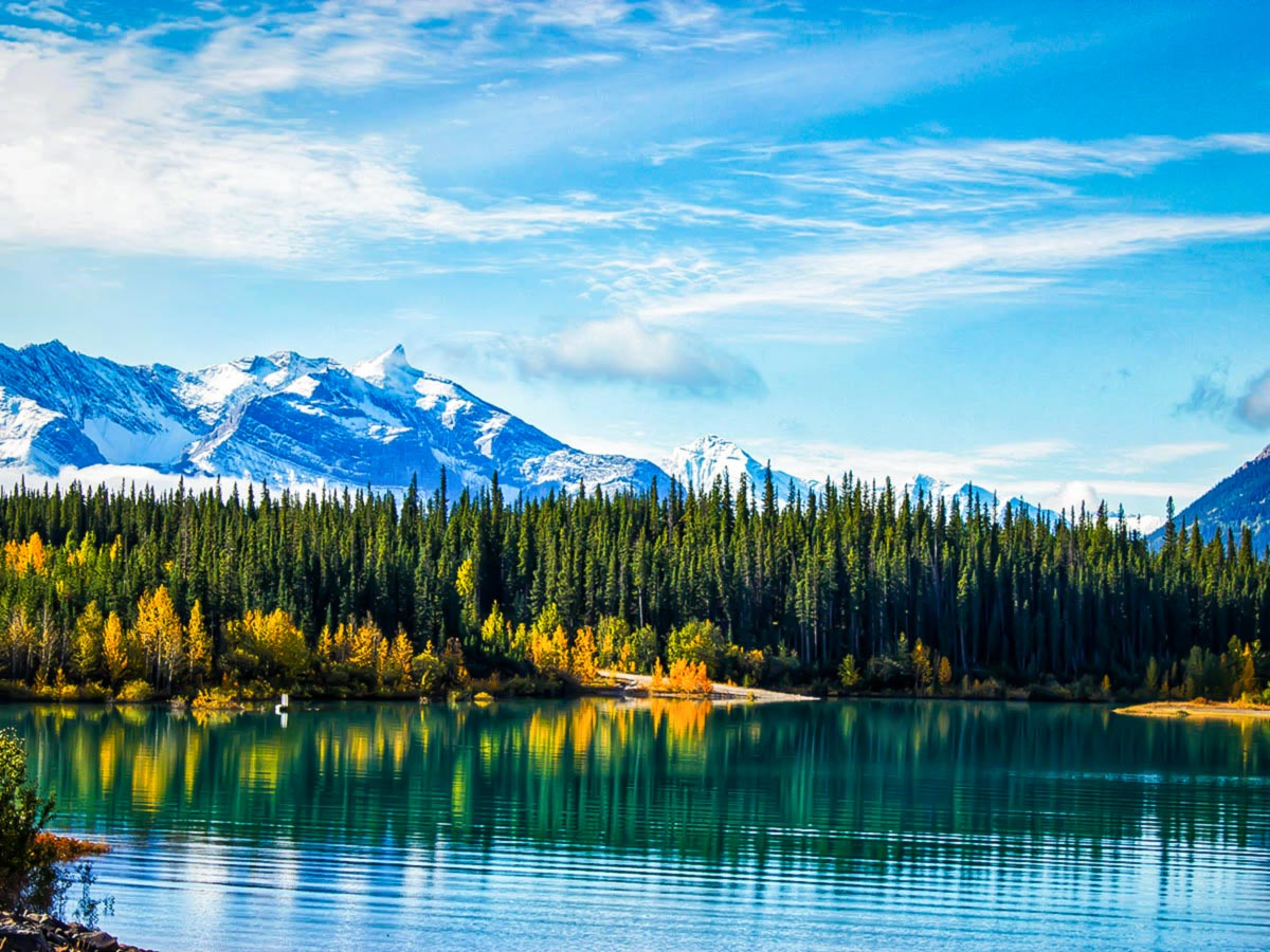 Beautiful autumn colors reflecting in the Emerald Lake in the Canadian Rockies