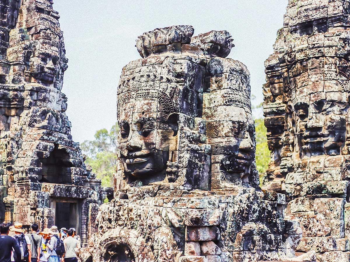 Buddah statue in Angkor Wat seen on Backroads Biking in Cambodia Tour