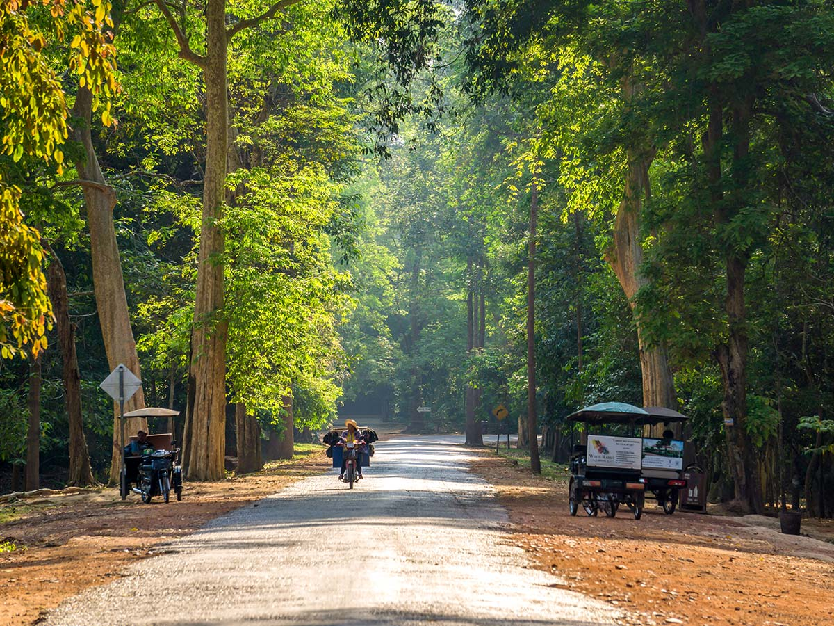 Streets of Siam Riep seen on Backroads Biking in Cambodia Tour