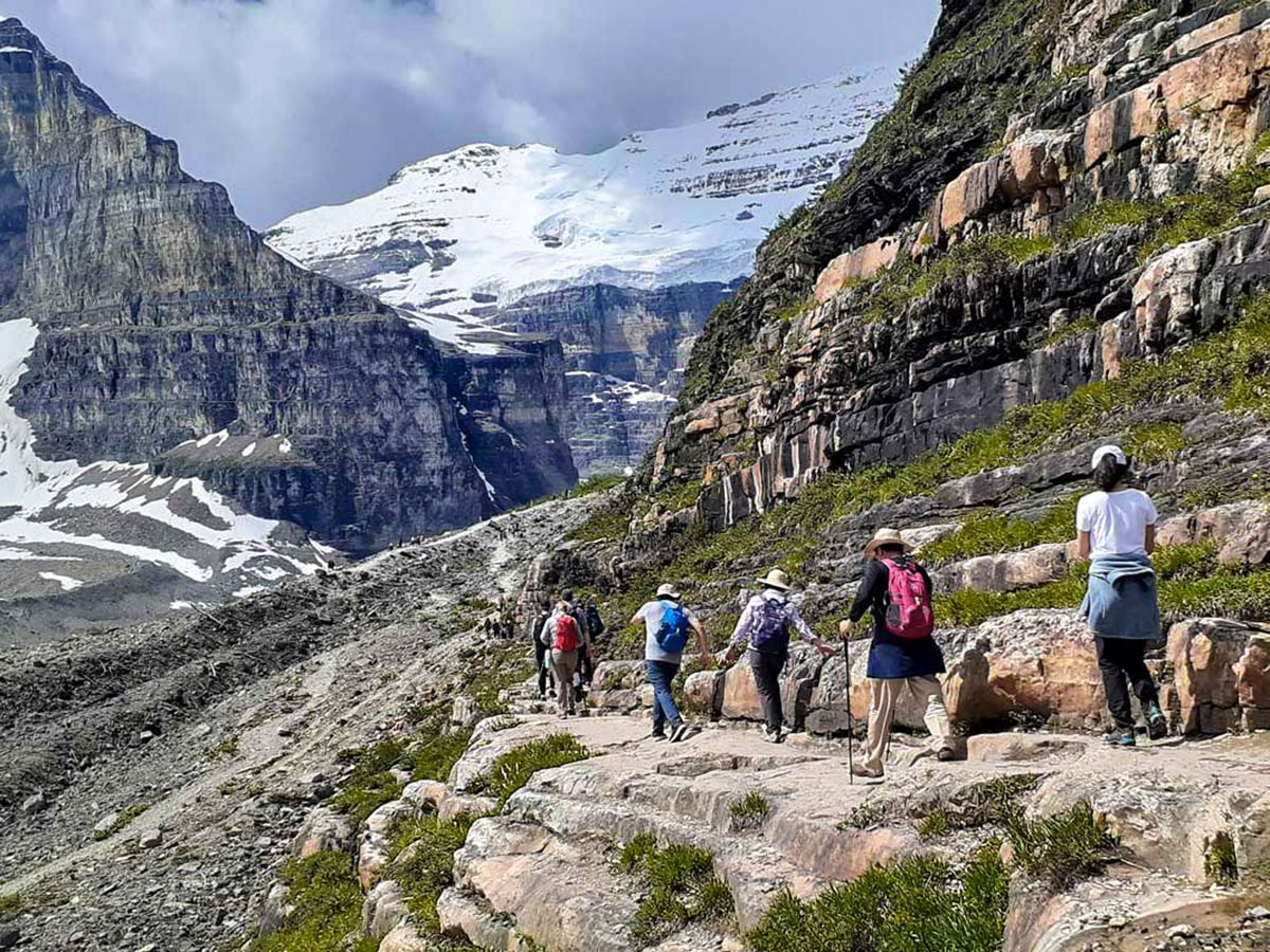 Group of hikers on a Plain of 6 Glaciers Hike