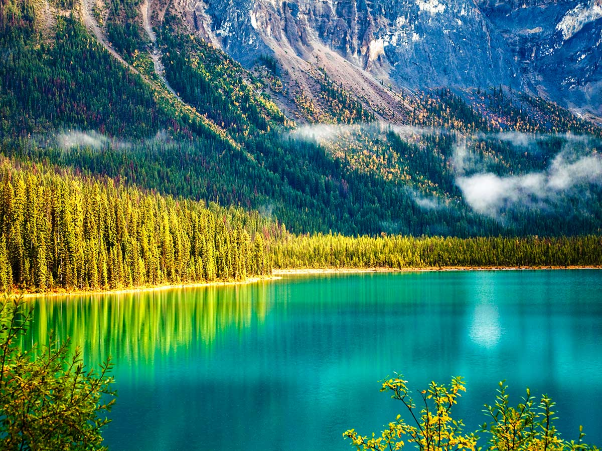 Emerald Lake near Lake Louise as seen on guided tour in Canadian Rocky Mountains