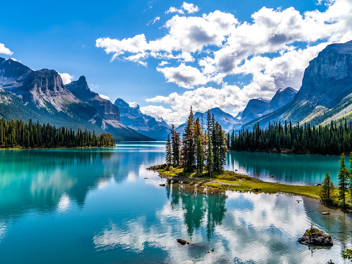 Spirit Island and Maligne Lake visited on 7 day Rocky Mountain Adventure with a guide