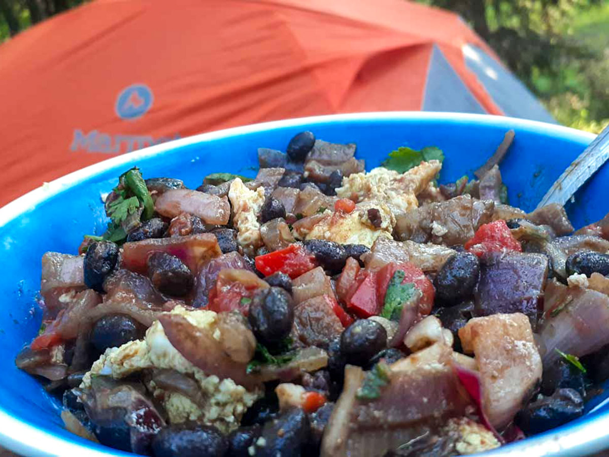Healthy meal served on a guided Rocky Mountain Adventure Tour