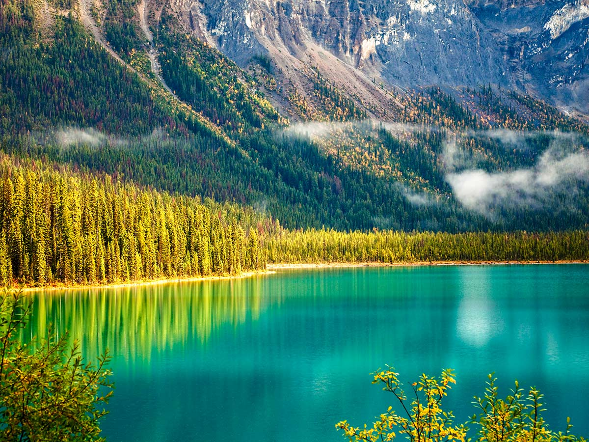 Beautiful Emerald Lake visited on a guided Rocky Mountain Adventure
