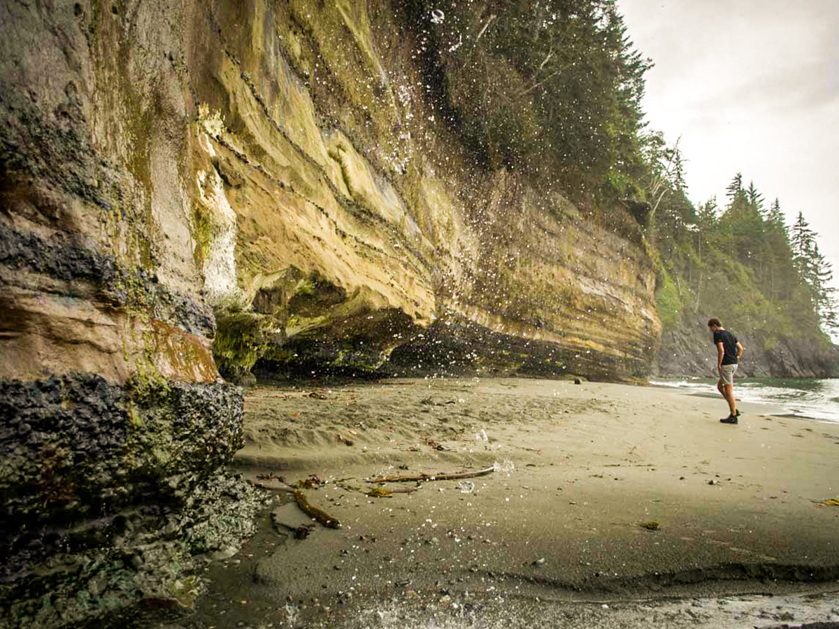 Exploring the Mystic Beach on a guided 8 day Vancouver Island Tour with a guide