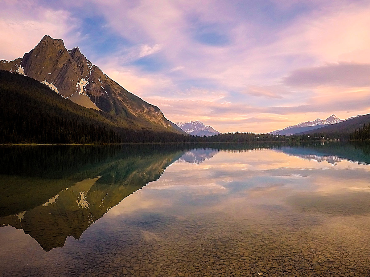 Sunset over the calm lake in the Canadian Rocky Mountains