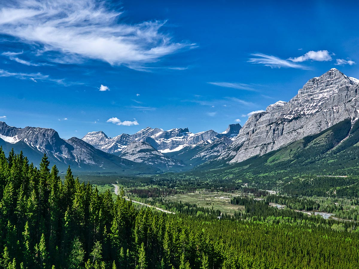 Overlooking the beautiful valley in the Canadian Rockies on a guided tour