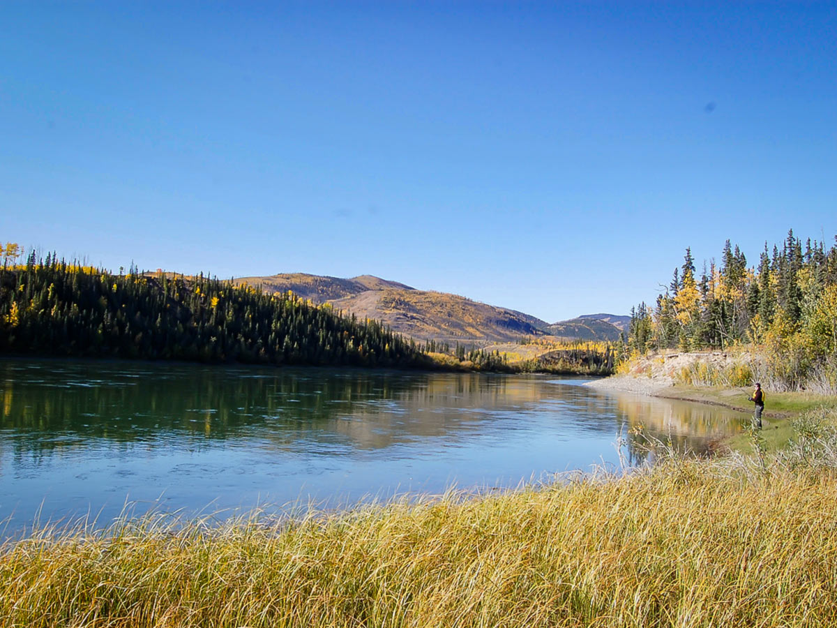 Beautiful Big Salmon River landscape, seen on a guided canoeing tour in Yukon