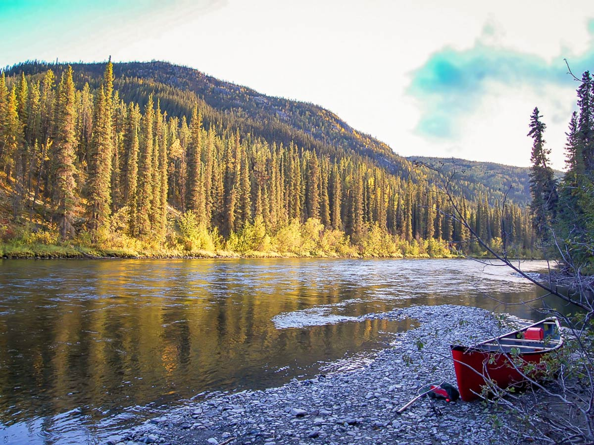 Camping along the Big Salmon River in Yukon