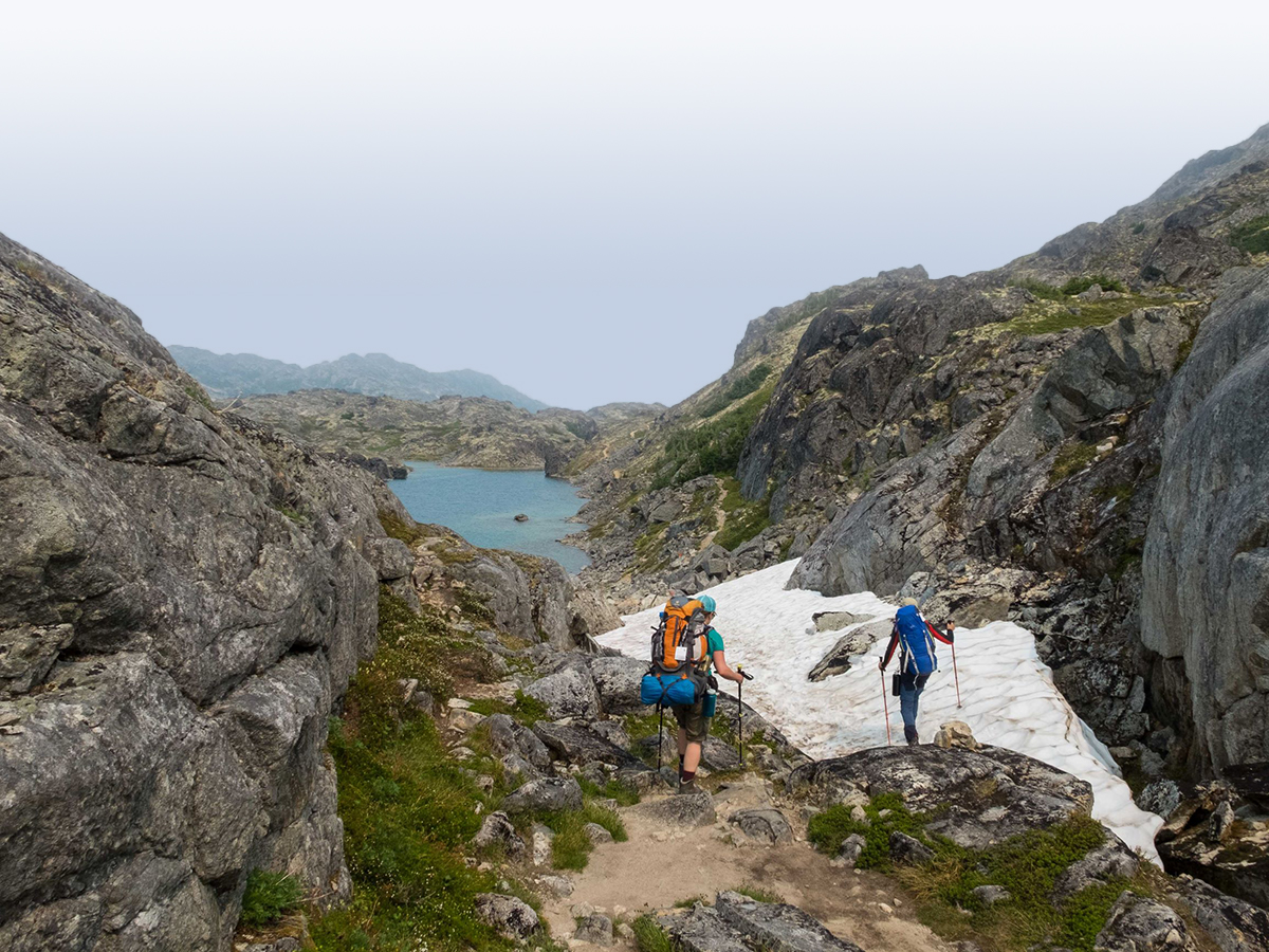 Crossing the Pass on Chilkoot Trail Tour with a guide