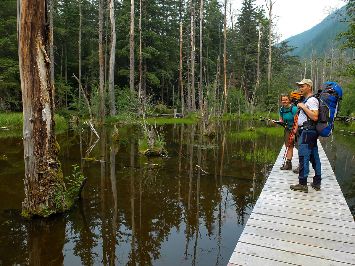 Crossing the Beaver Pond on Chilkoot Trail in USA and Canada