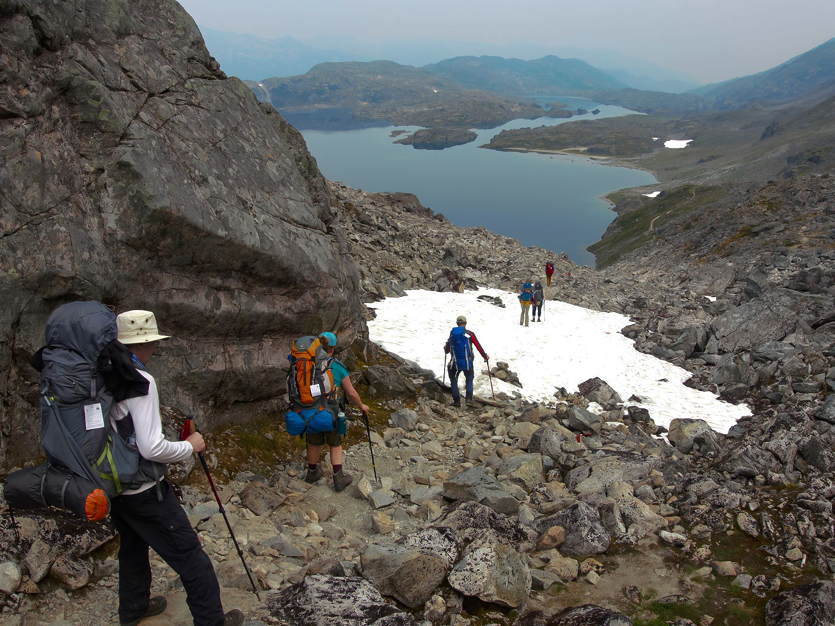 Going down the Chilkoot Pass with a guided group