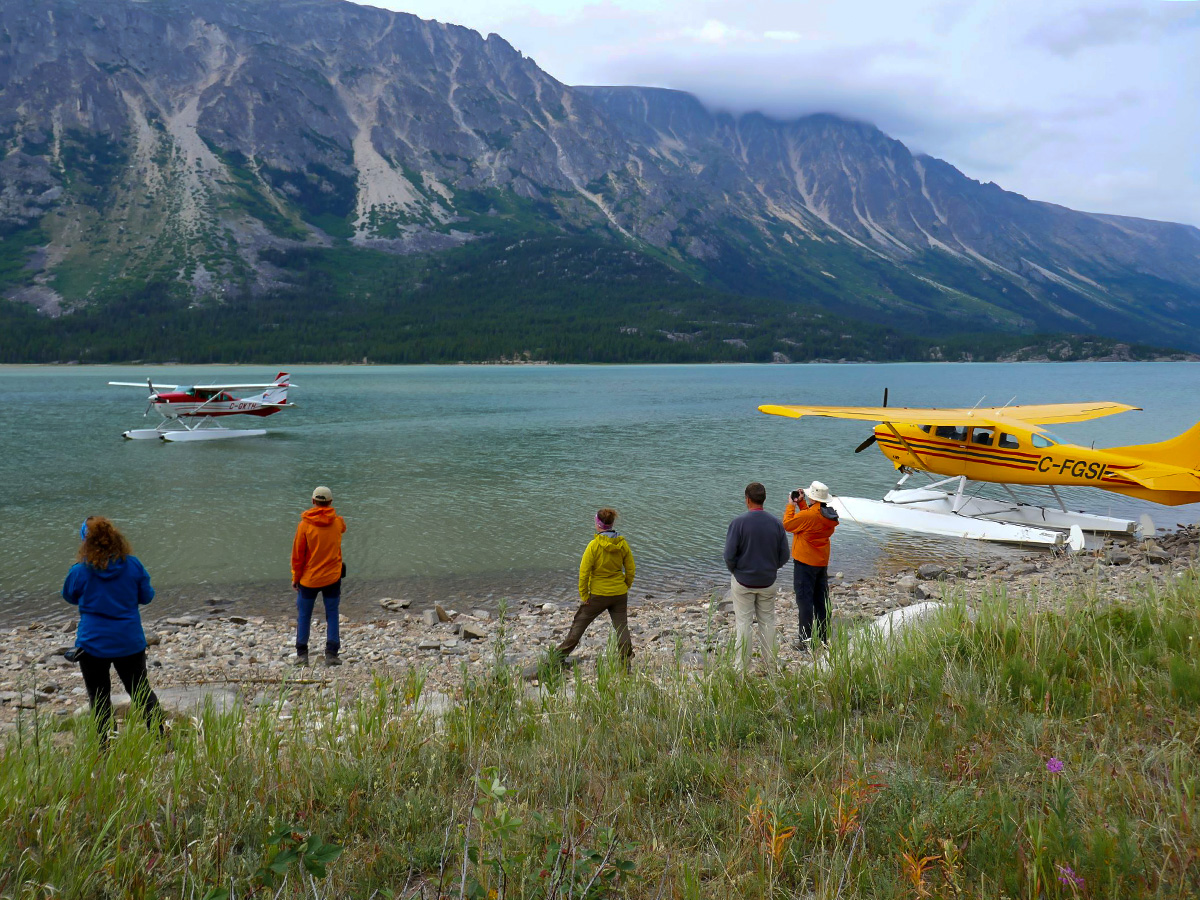 Float plane pick up at Bennet Lake in Canada