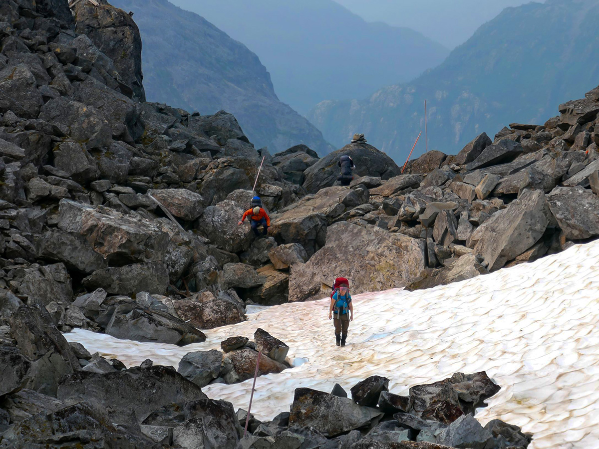 Guided goup on the Chilkoot Pass USA and Canada