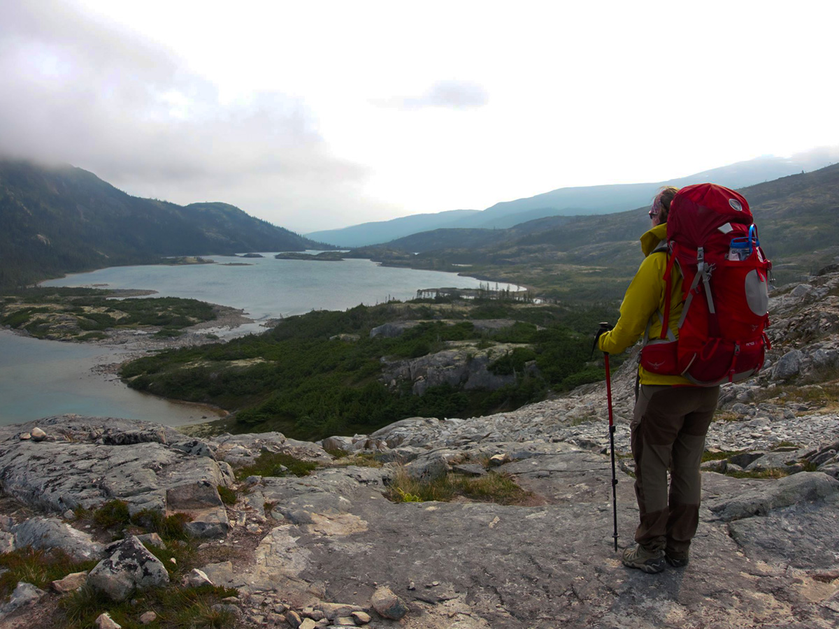 Hiker on Chilkoot Trail in Alaska and British Columbia