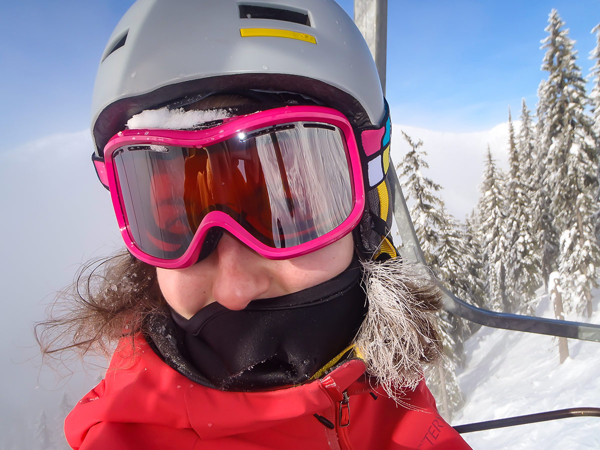 Skier pictured from up close