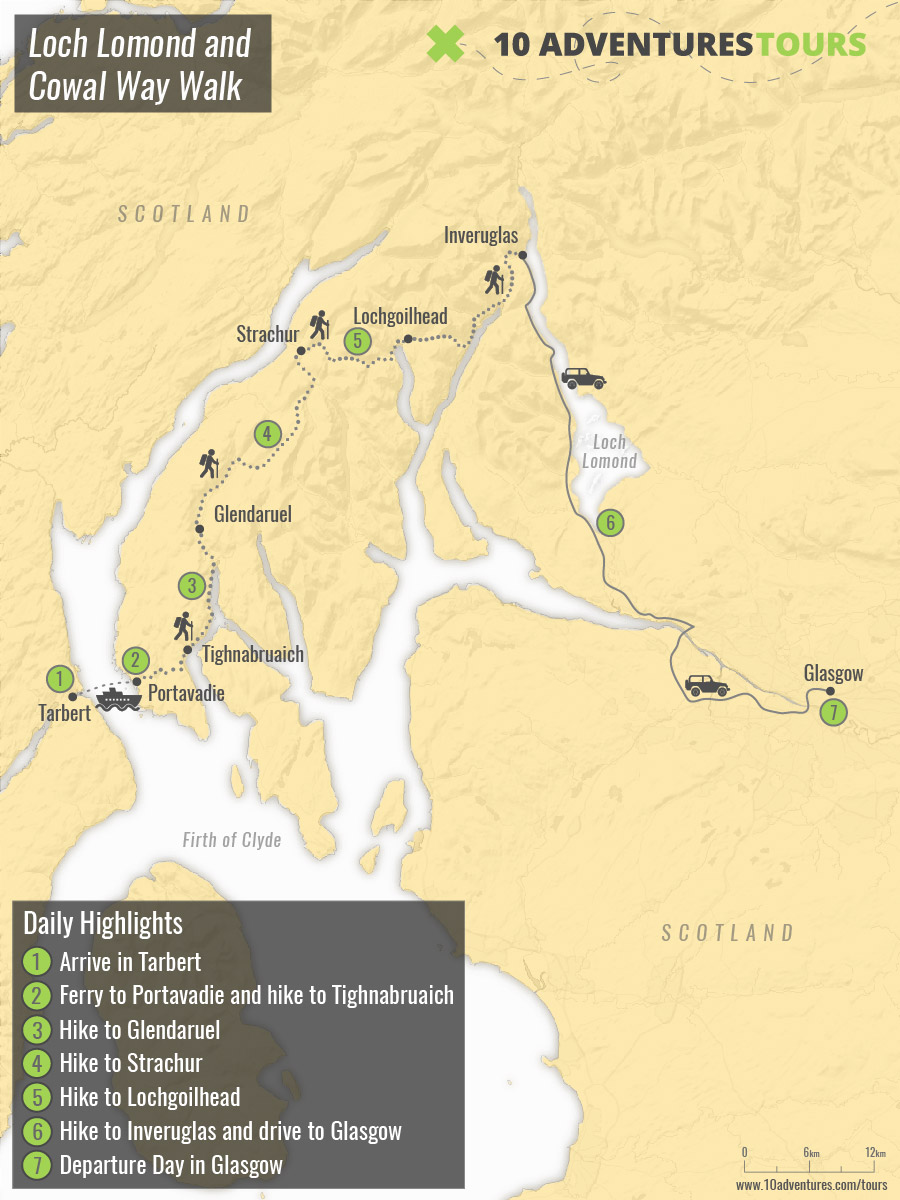 Map of Loch Lomond and Cowal Way Walk