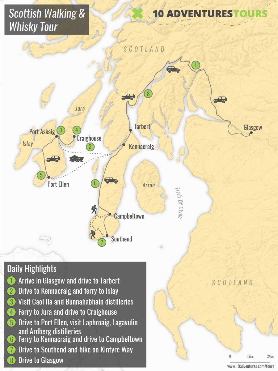 Map of Scottish Walking & Whisky Tour