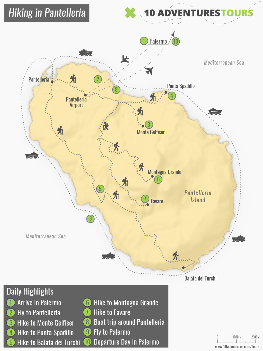Map of Hiking in Pantelleria Island in Italy