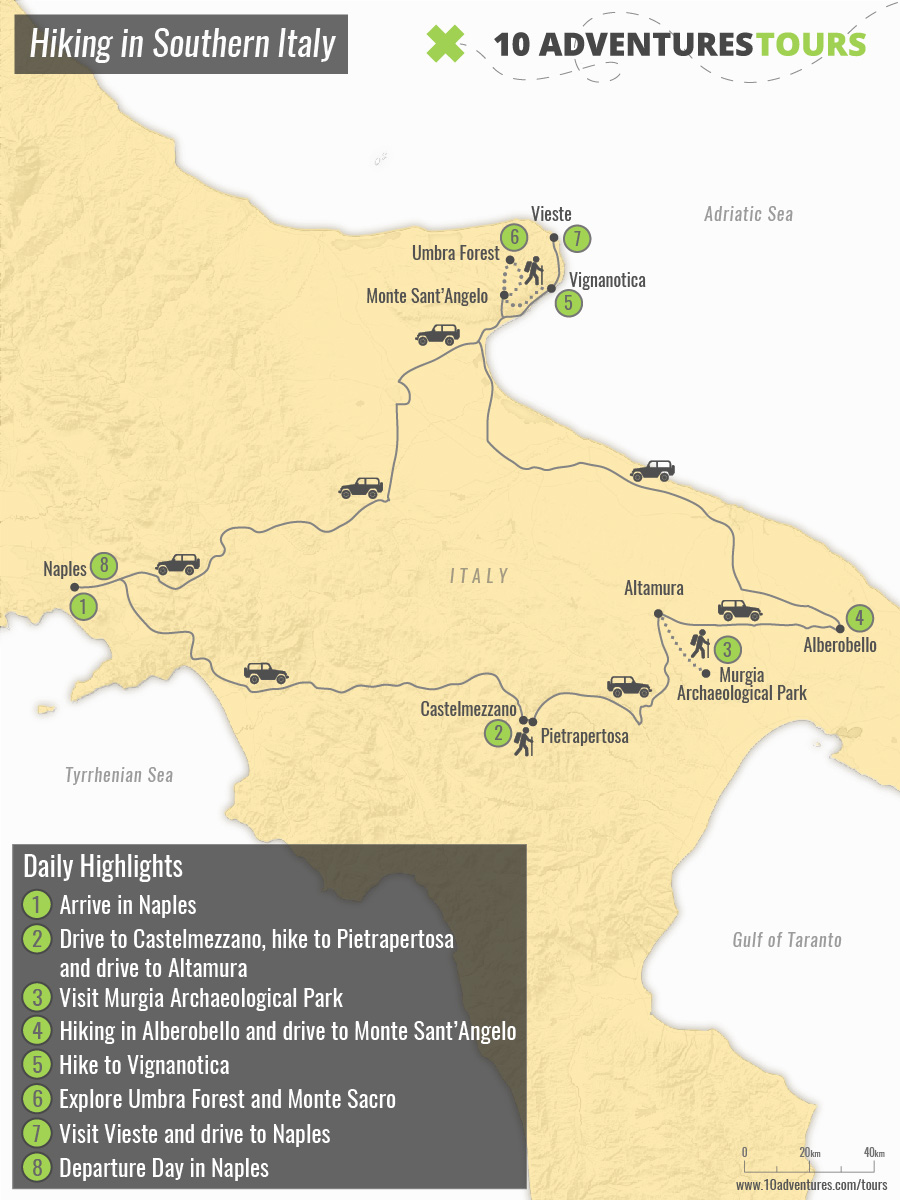 Map of Hiking in Southern Italy with a guide