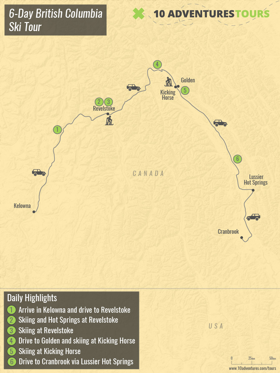 Map of 6-Day British Columbia Ski Tour in Rocky Mountains with guide