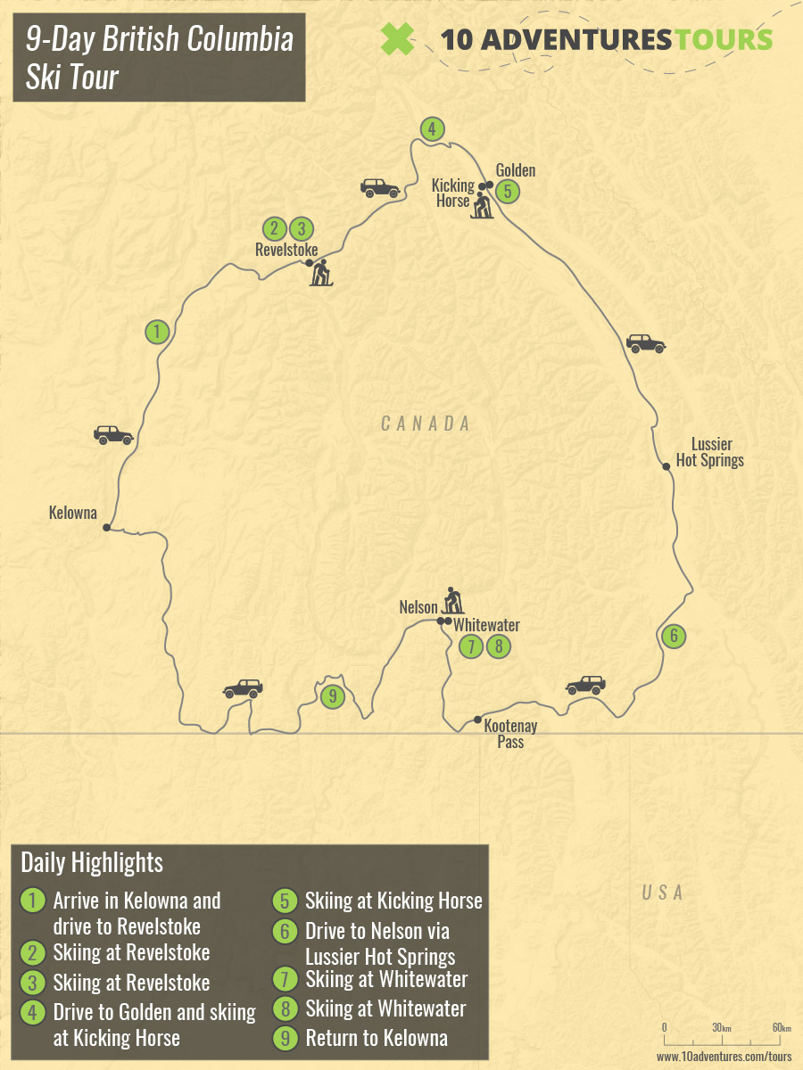 Map of 9-Day British Columbia Ski Tour in British Columbia, Canada