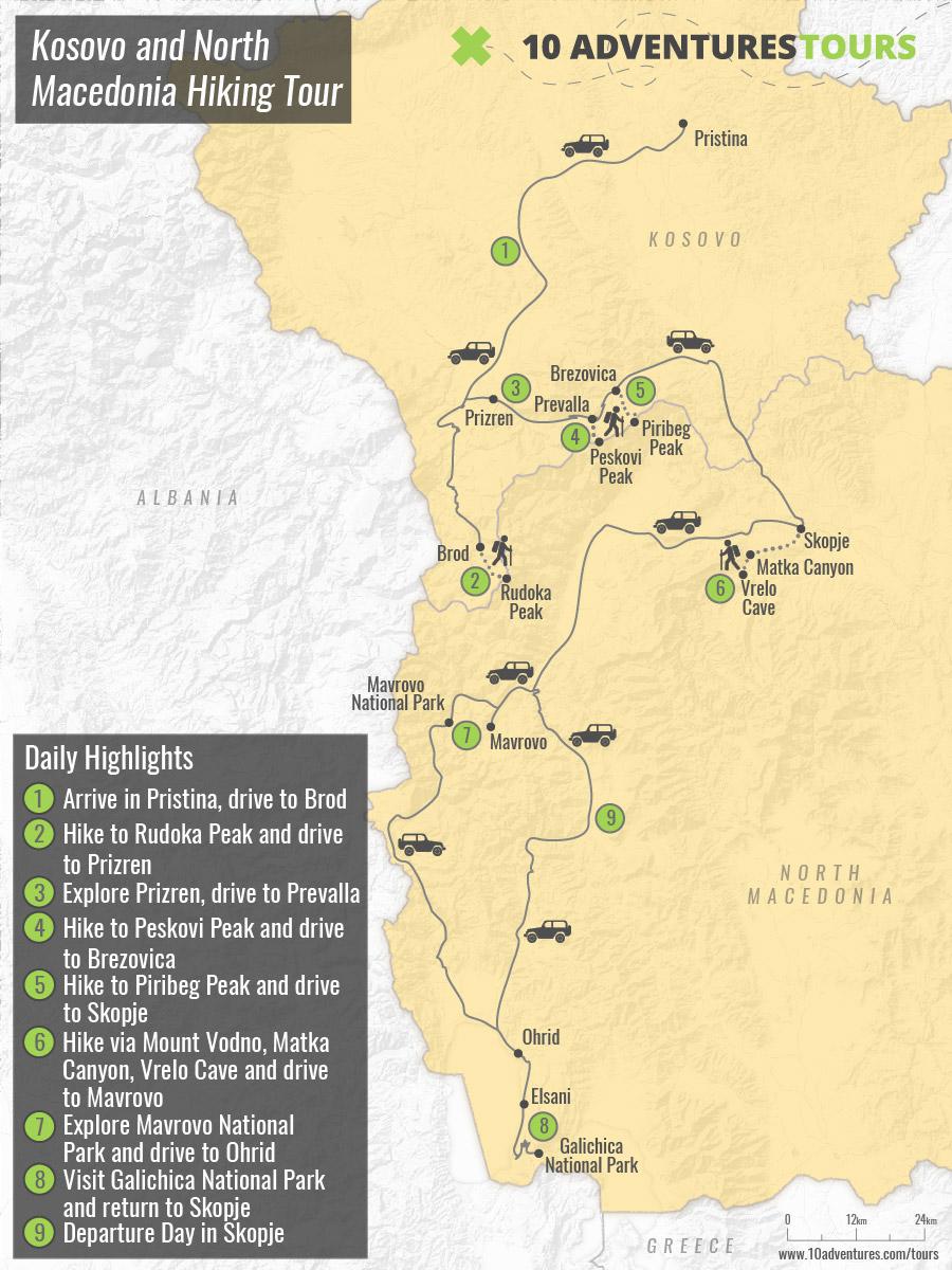 Map of Kosovo and North Macedonia Hiking Tour