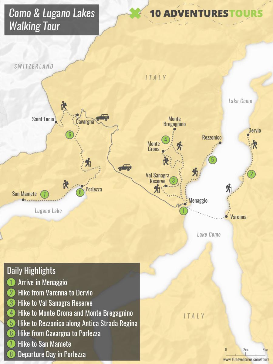 Map of Como & Lugano Lakes Walking Tour
