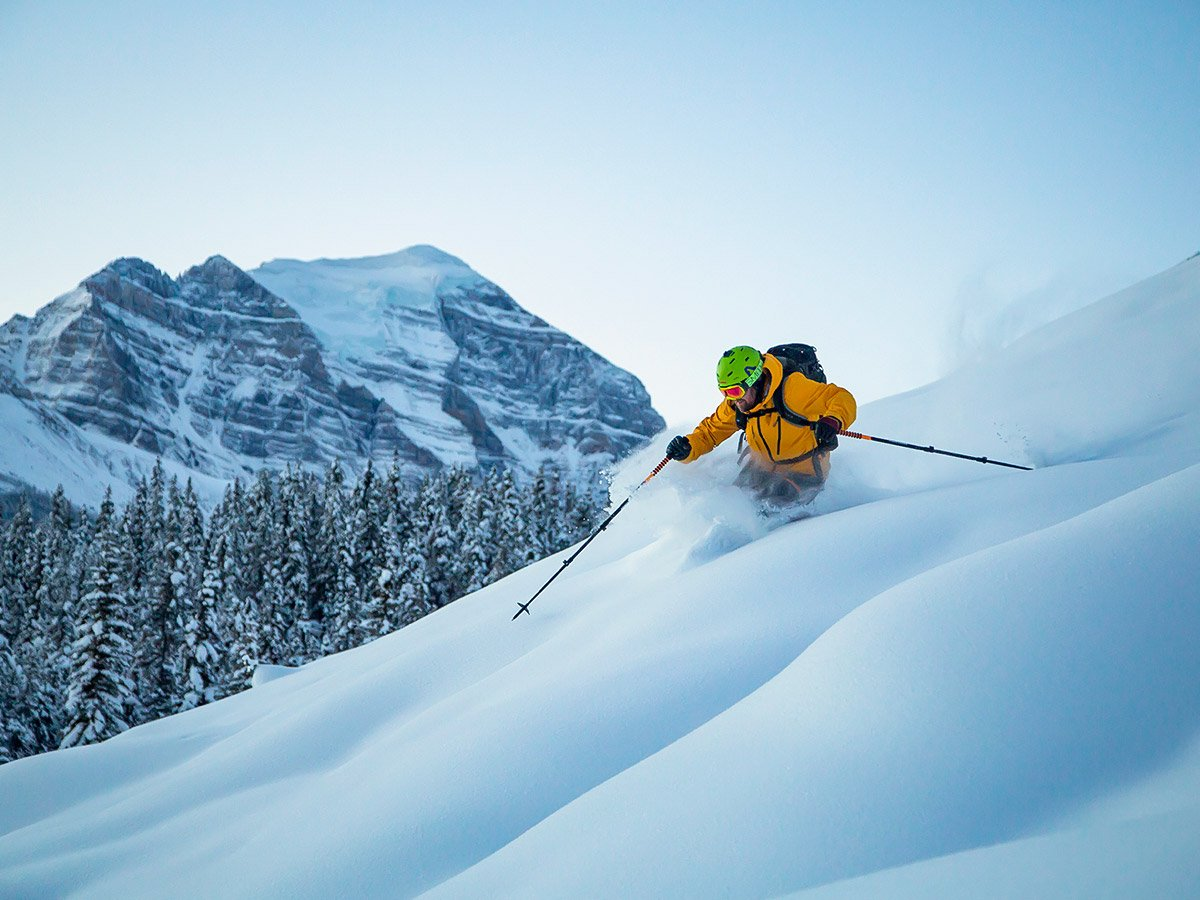 Skiing down the mountain in the Canadian Rockies
