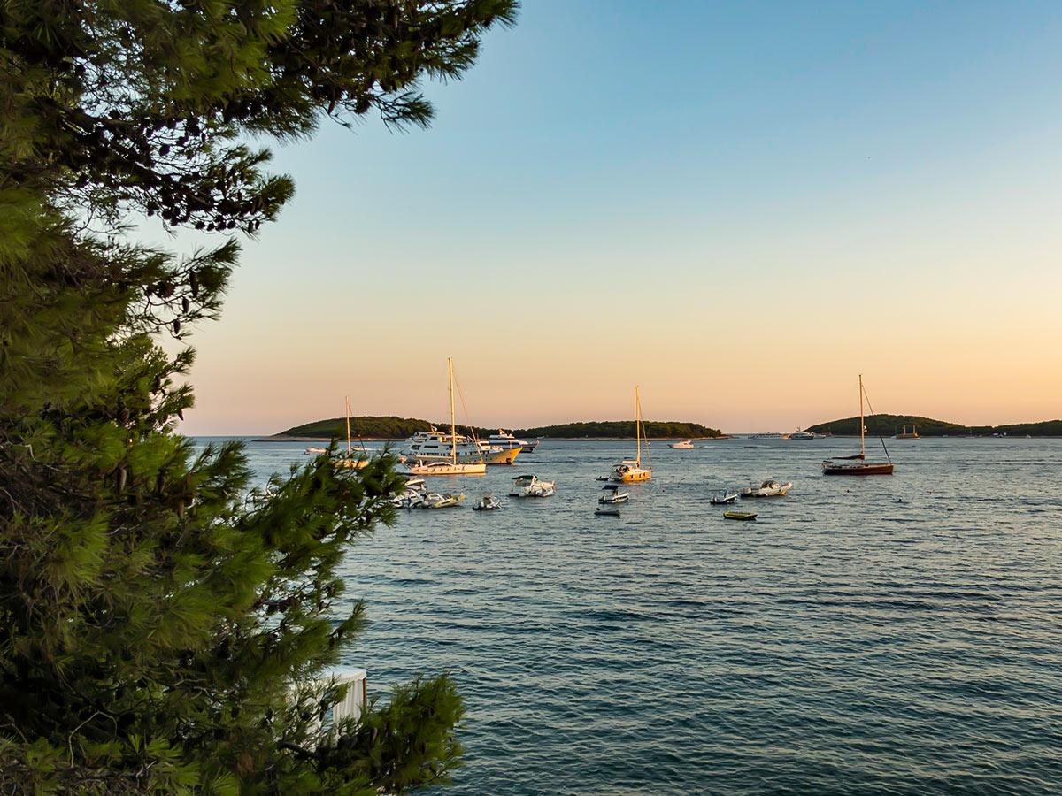 Beautiful sunset over the coast in Croatia, seen on 5-day Sailing Adventure in Croatia