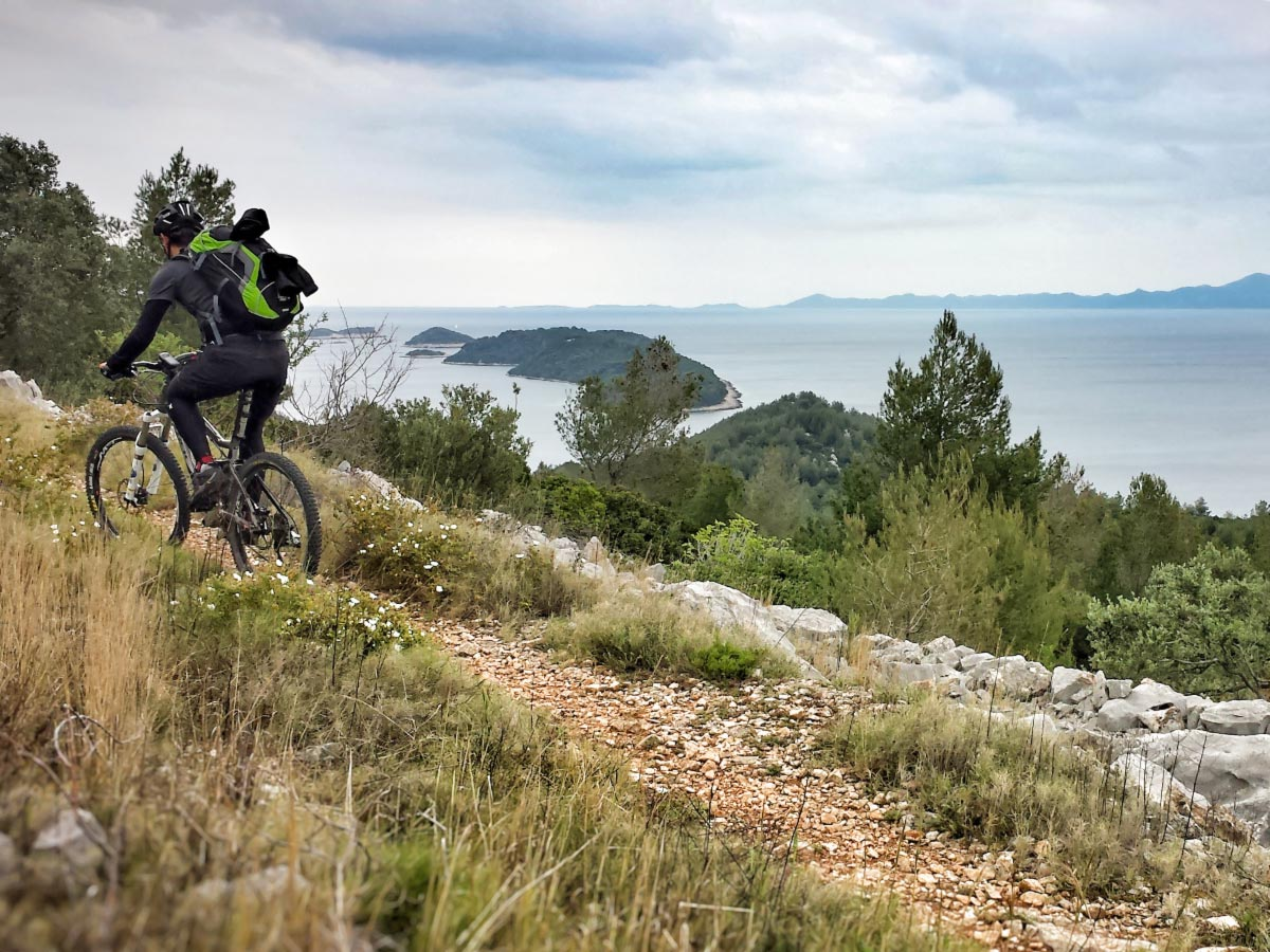 Cycling along the sea with a guided group in Croatian Islands