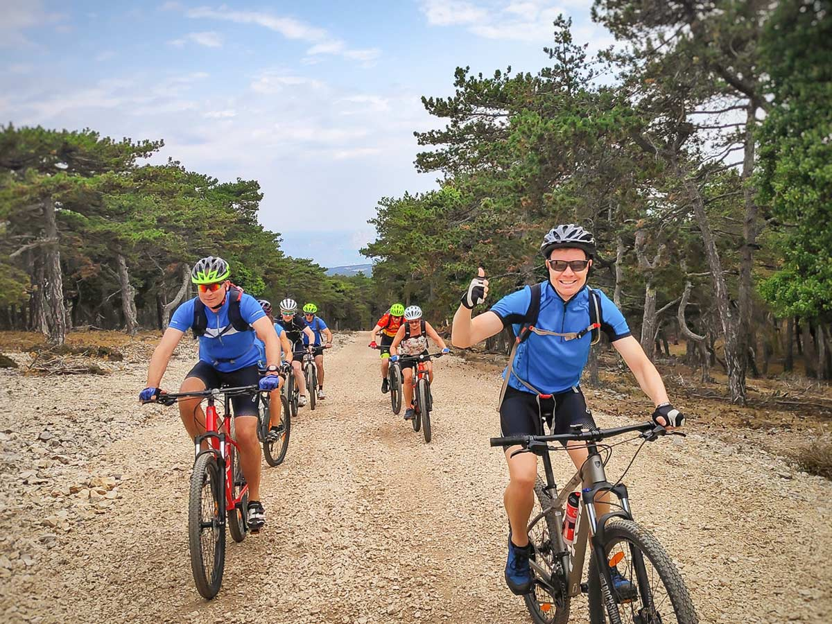 Group of bikers enjoying the route in one of the Croatian Islands