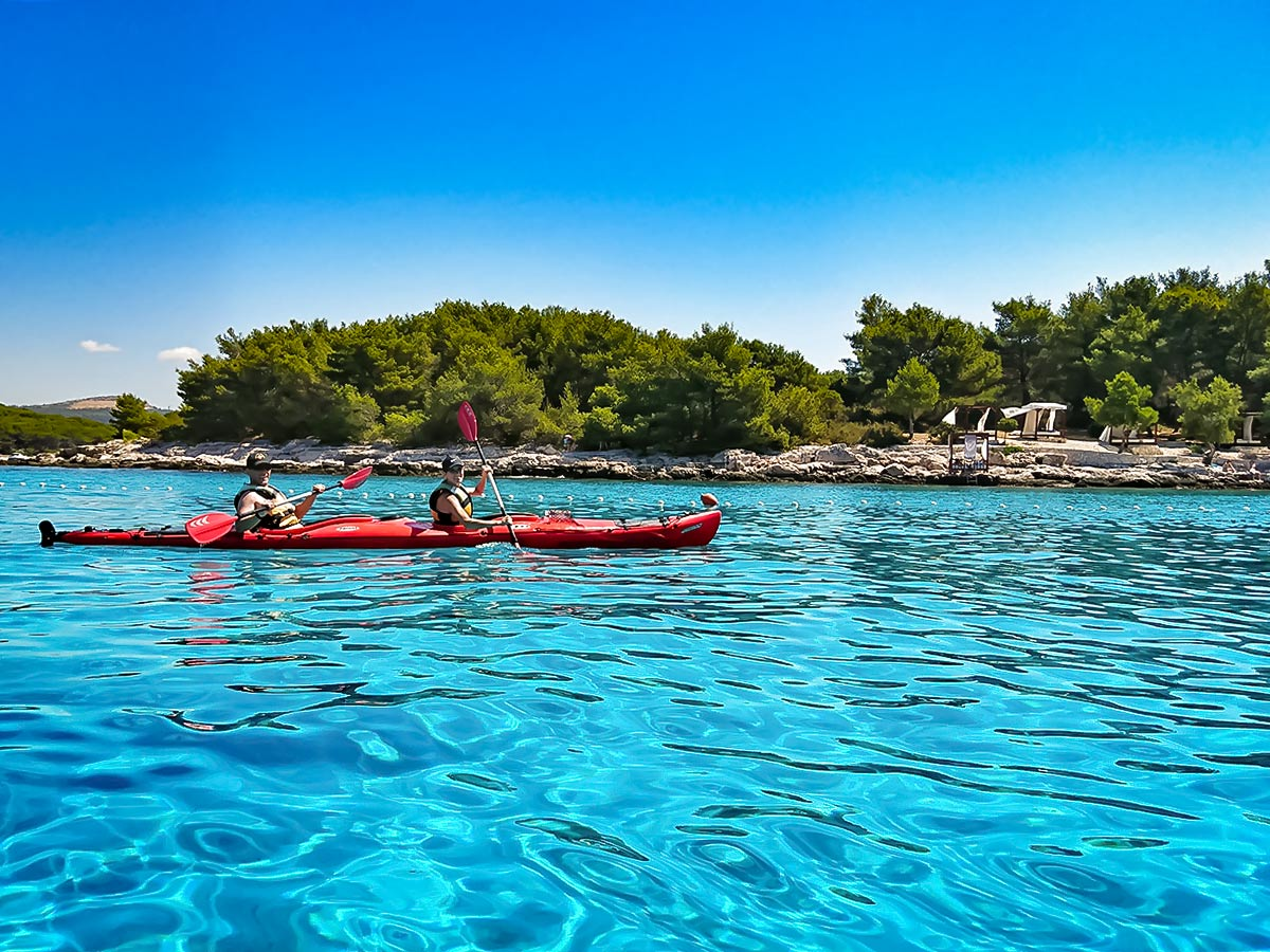 Kayaking near Pakleni Islands in Dalmatian Sea Croatia