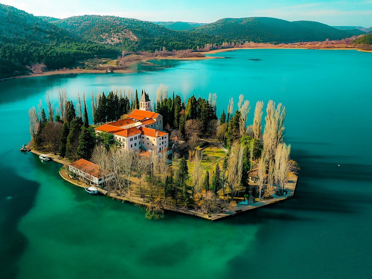 Visovac Monastery in Croatia seen on 5-day Sailing Adventure in Croatia