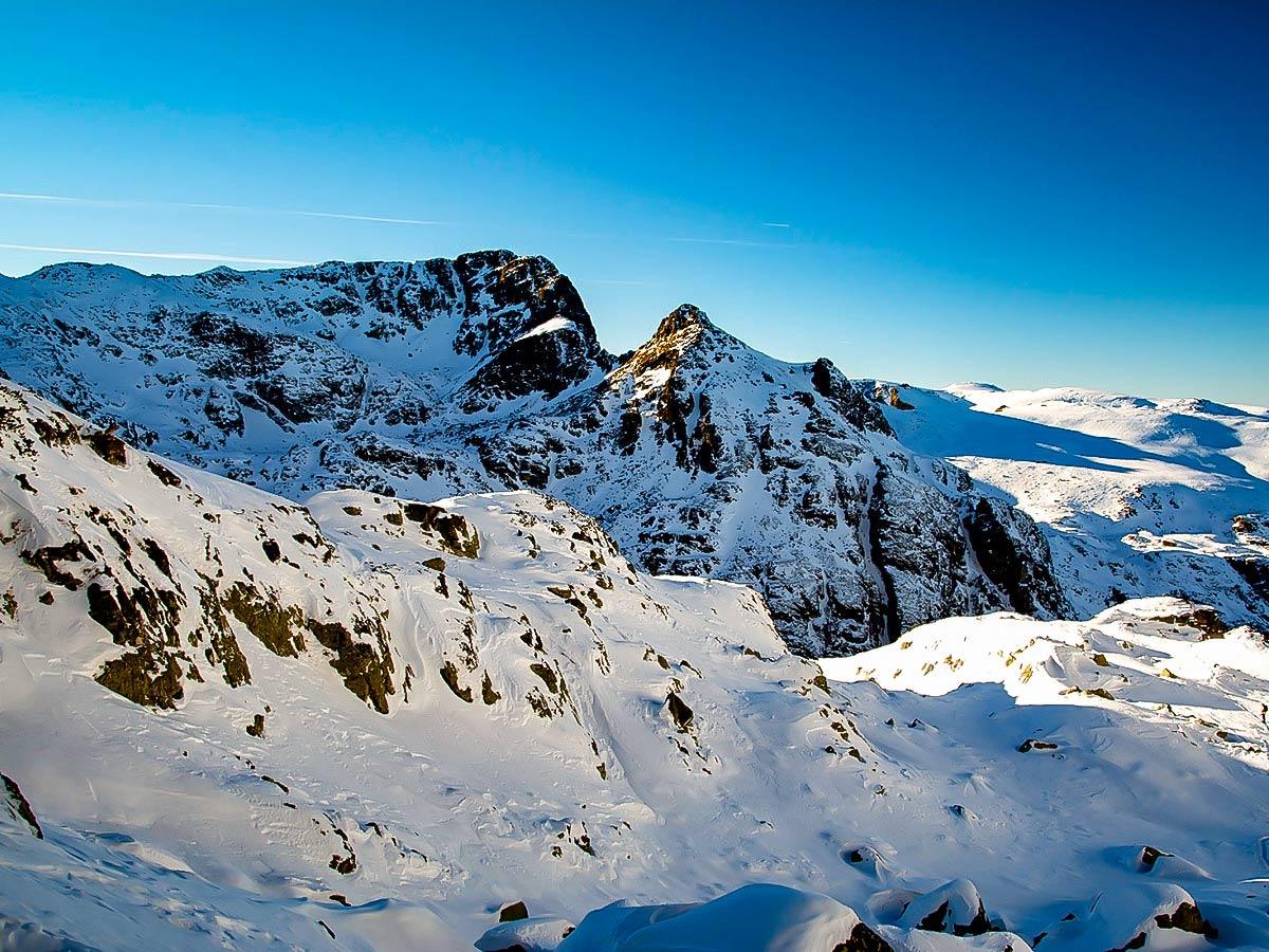 Beautiful snowy mountains nera Rila seen on Ski Adventure tour in the Bulgarian Mountains