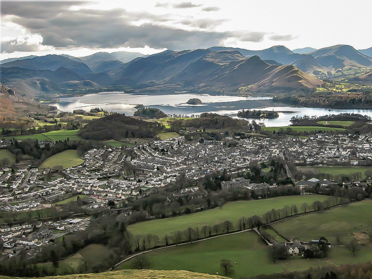 Keswick from Dodd Summit, as seen on self-guided walk in the Lakes District