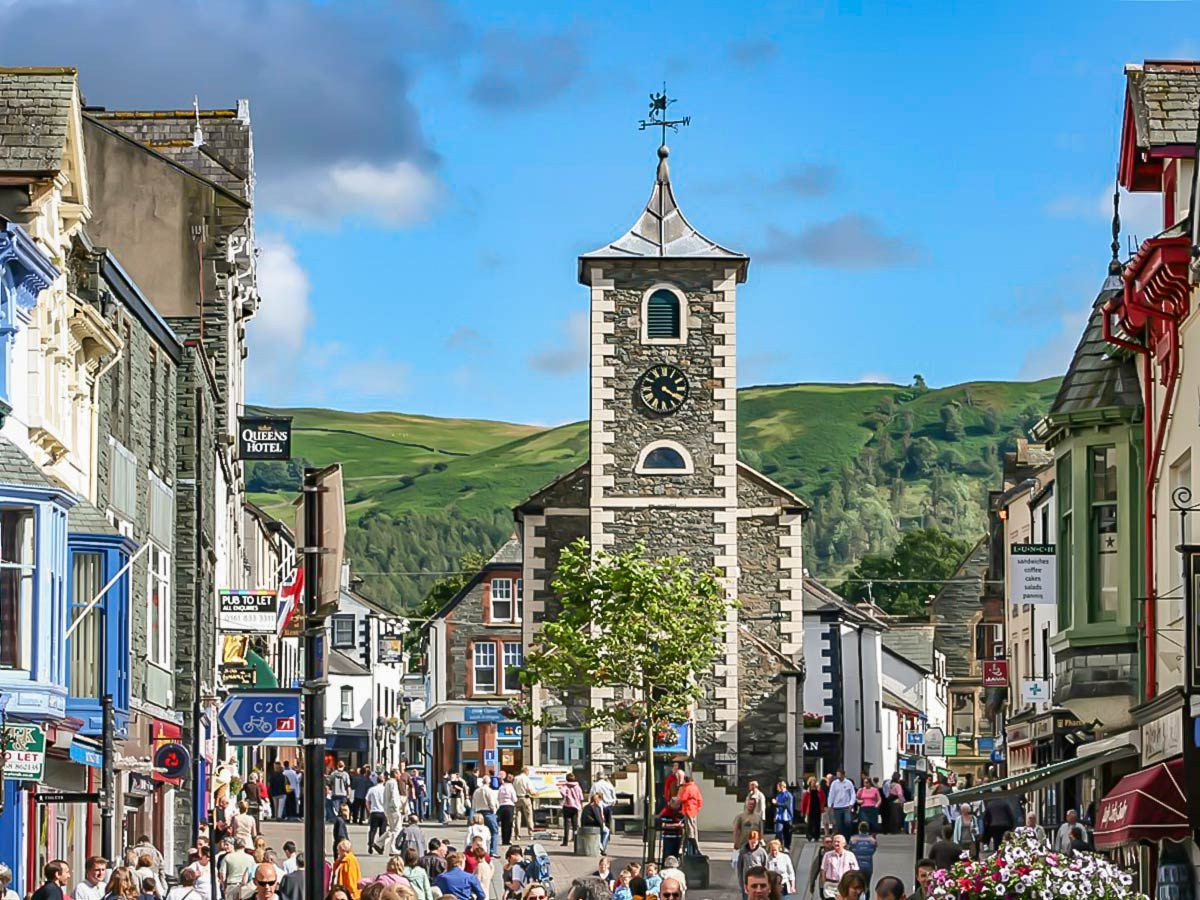 Keswick Market Square, visited on Hadrian's Wall Path walk with a detour to Lake District