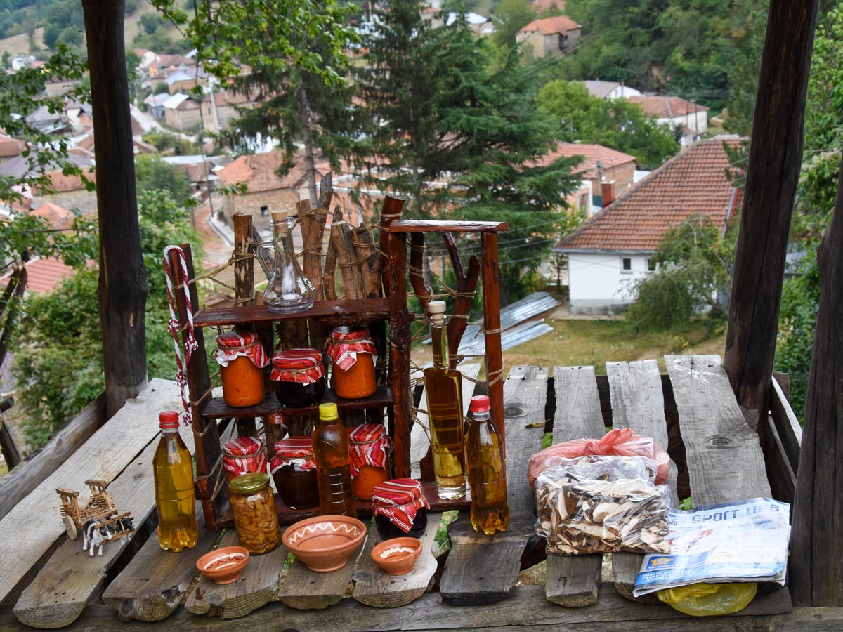 A small traditional shop in Kuratica village, near Ohrid, visited on Hiking the Western Balkans Tour