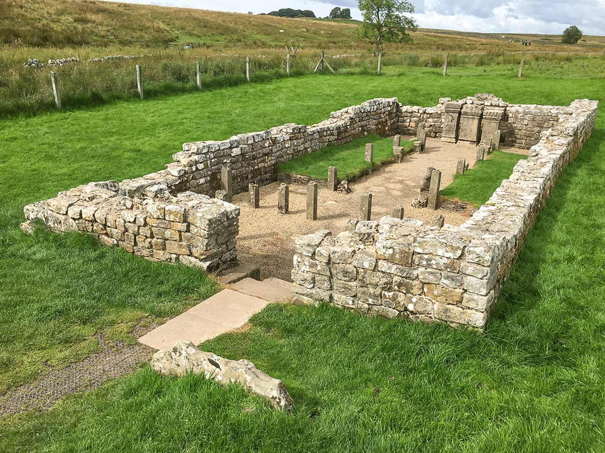 Temple of Mithras ruins along the Hadrians Wall Path