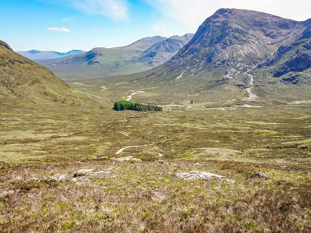Beautiful views of the Devils Staircase as seen on West Highland Way in Scotland