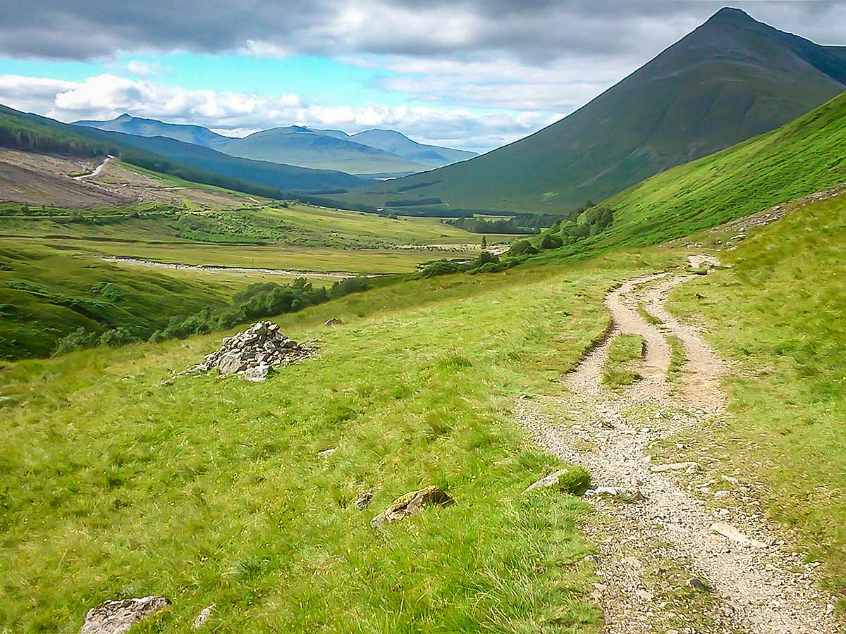 Heading to Bridge of Orchy on the West Highland Way in Scotland