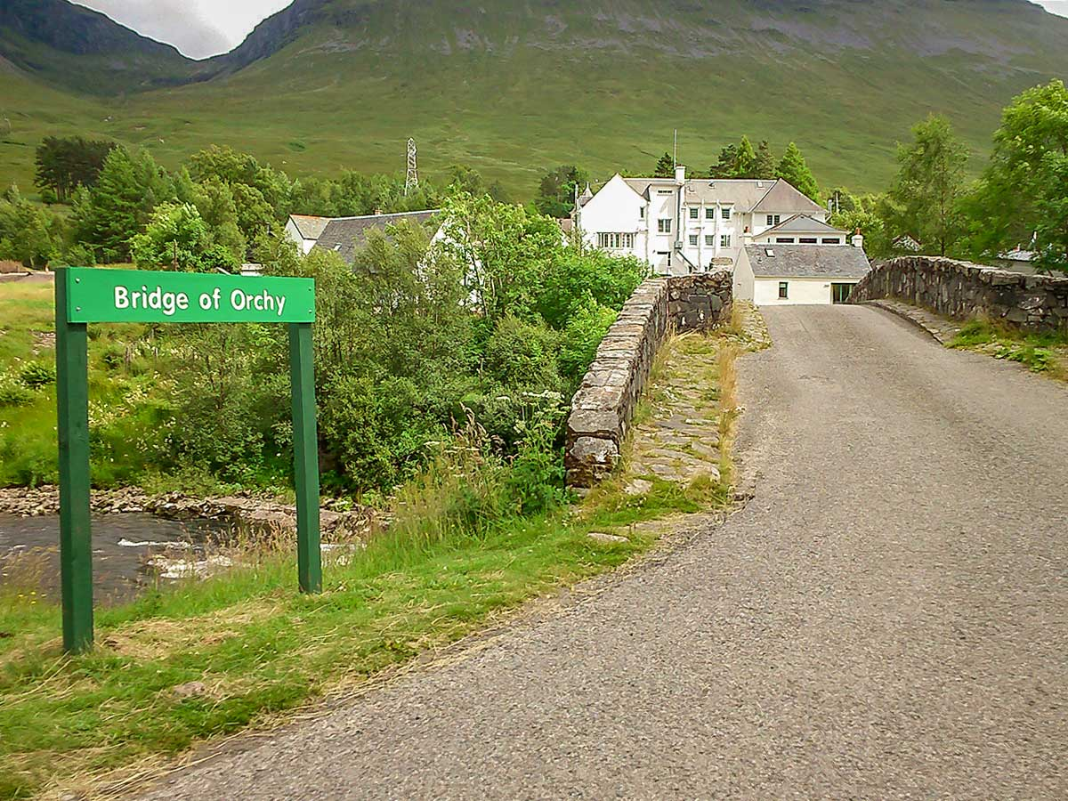 Crossing the Bridge of Orchy on the West Highland Way in Scotland