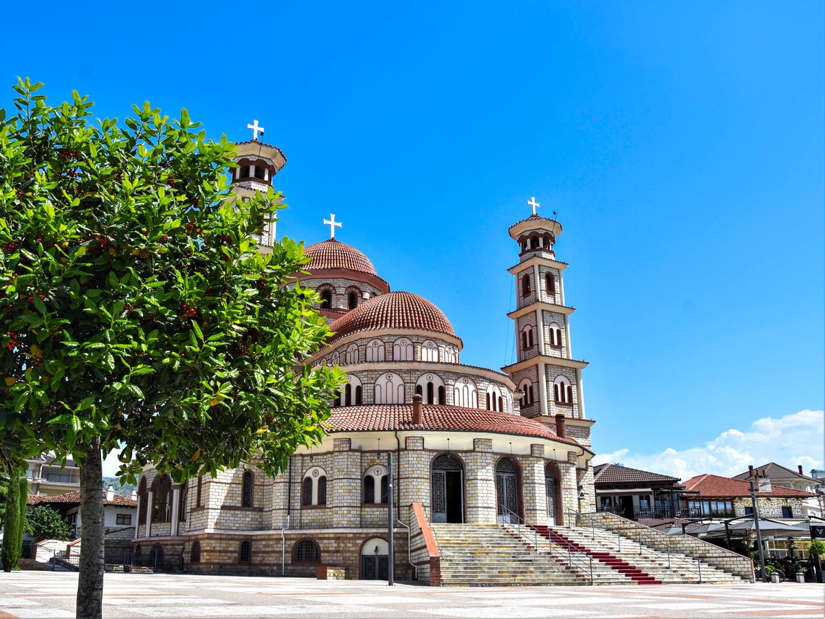 Korca Cathedral Albania visited on Hiking the Western Balkans tour with a guide