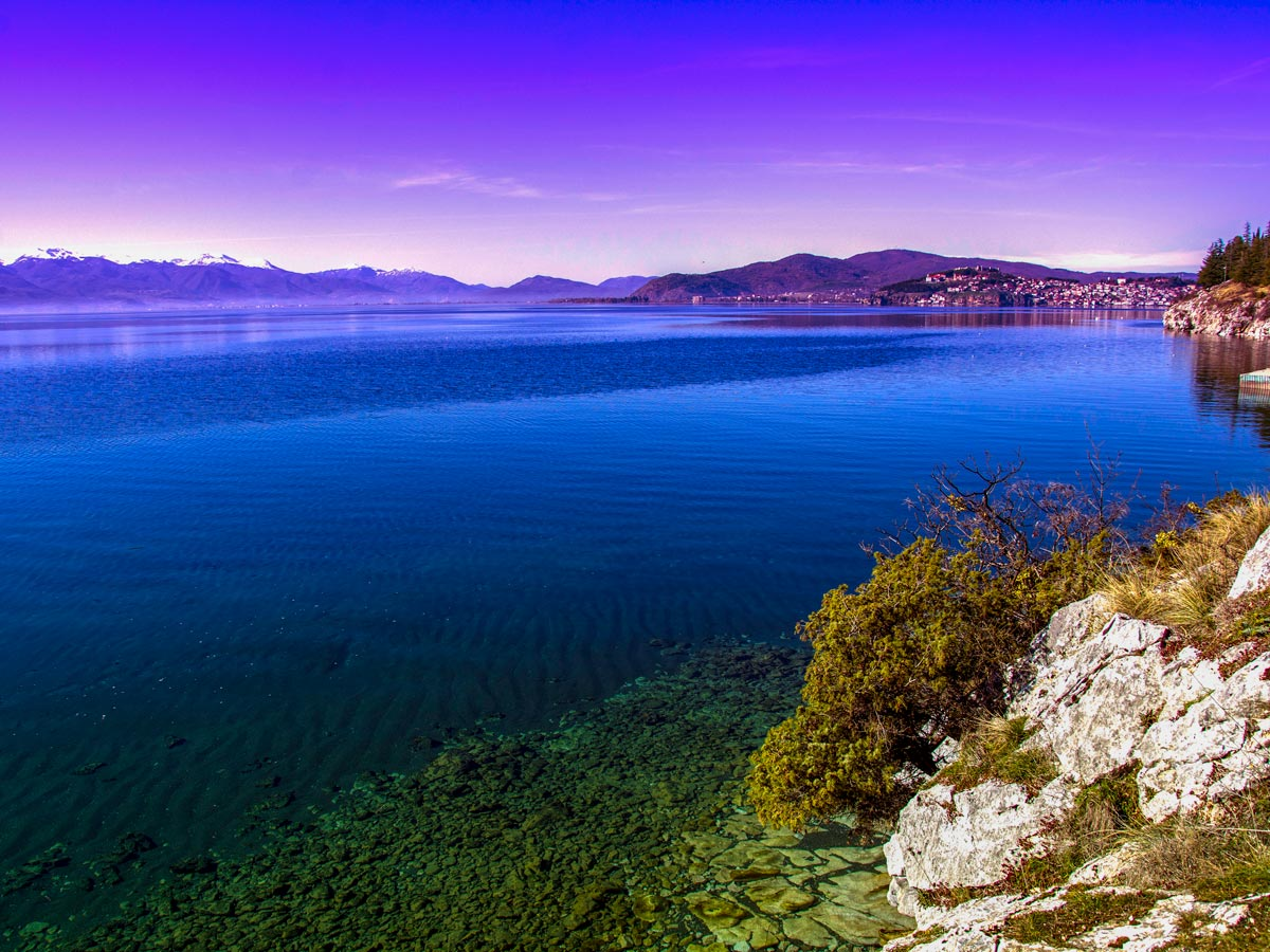 Ohrid lake shore in Macedonia as seen on a hiking tour in Western Balkans