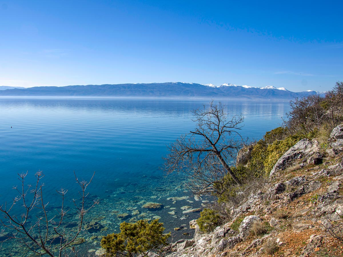 Trail along the Ohrid lake as seen on a Hiking the Western Balkans Tour