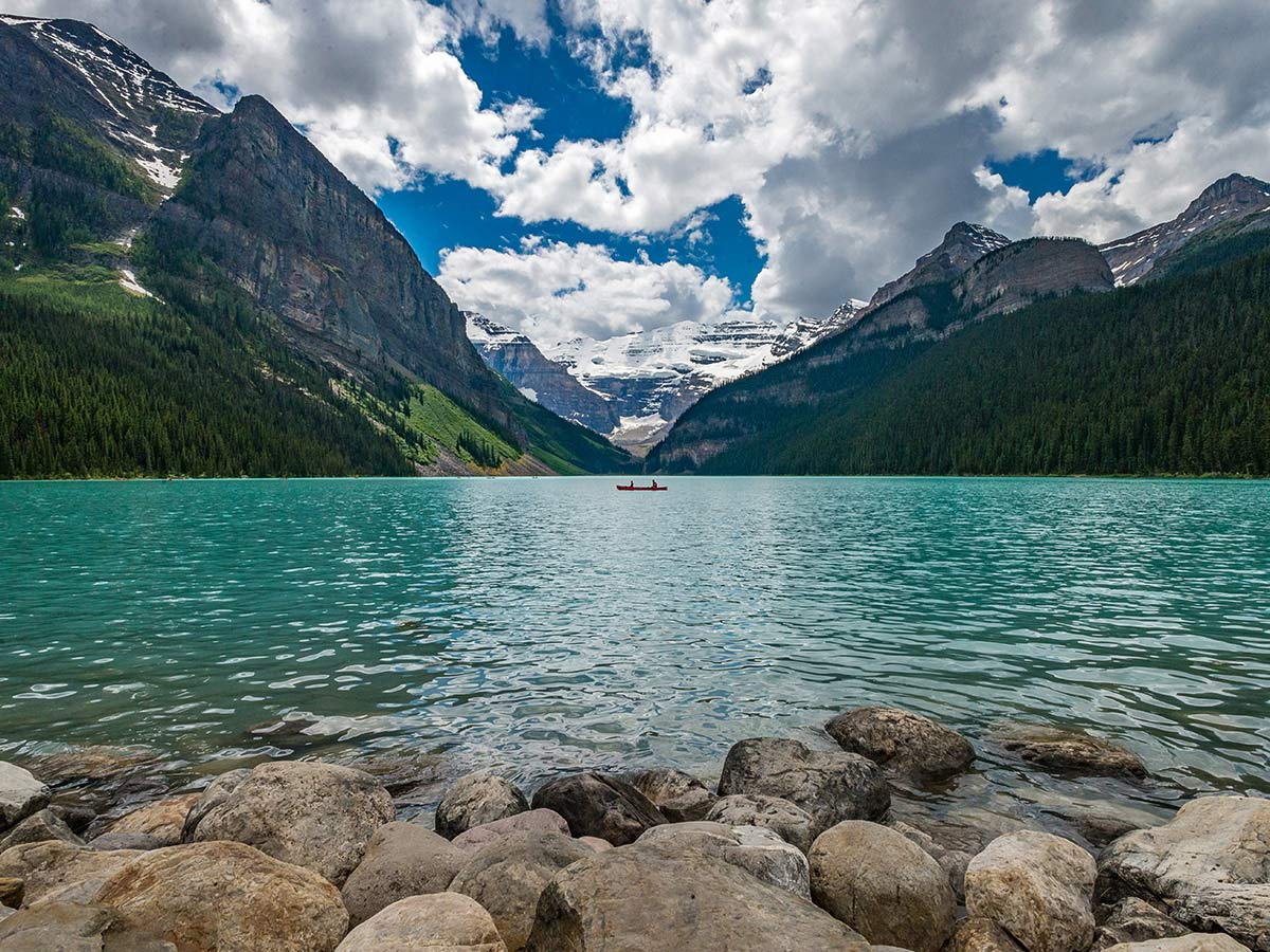 Lake Louise is one of the highlights of the Family Adventure in Rocky Mountains Tour in Canada